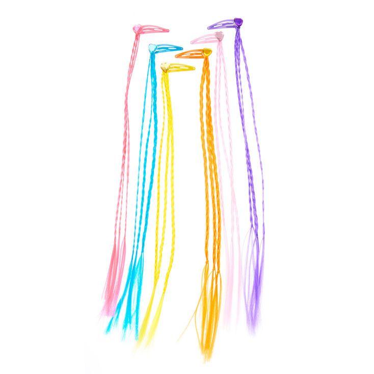 Kids Rainbow Braided Faux Hair Heart Snap Hair Clips Faux Hair Rainbow Braids Hair Clips
