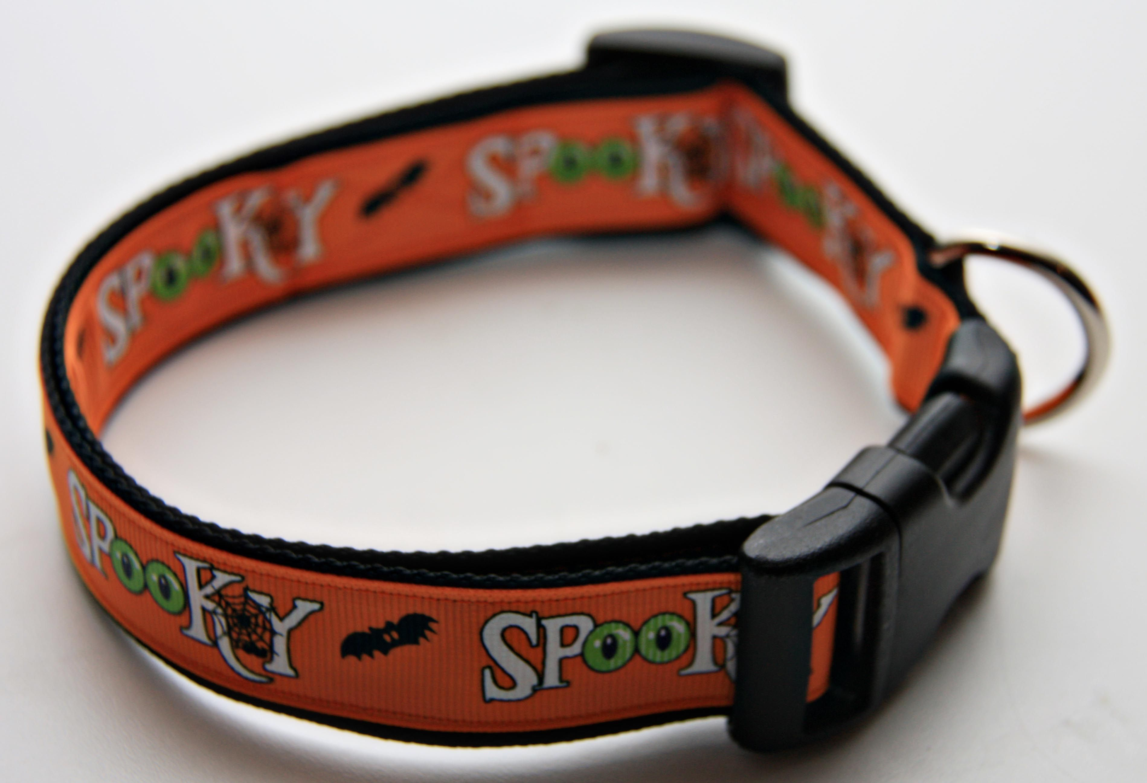 "Cute Halloween Spooky 1"" Dog Collar. $15.00. Find Bonzai Gifts on Facebook for more!"