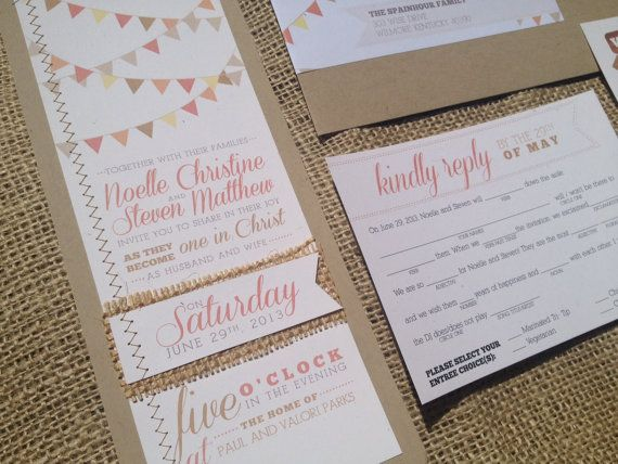 Cheap Shabby Chic Wedding Invitations: Bunting Calligraphy Wedding Invitation Mad Libs Coral