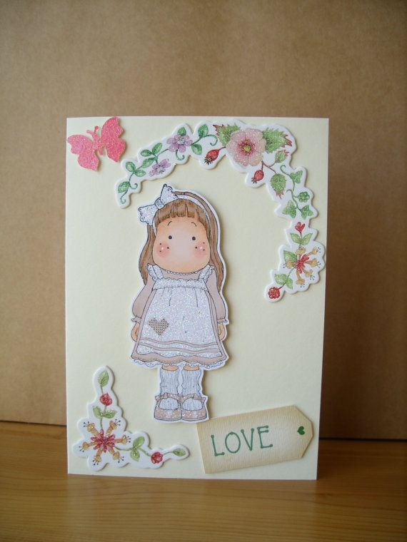 LOVE Magnolia Tilda Card by AuntyJoanCrafts on Etsy, £2.50