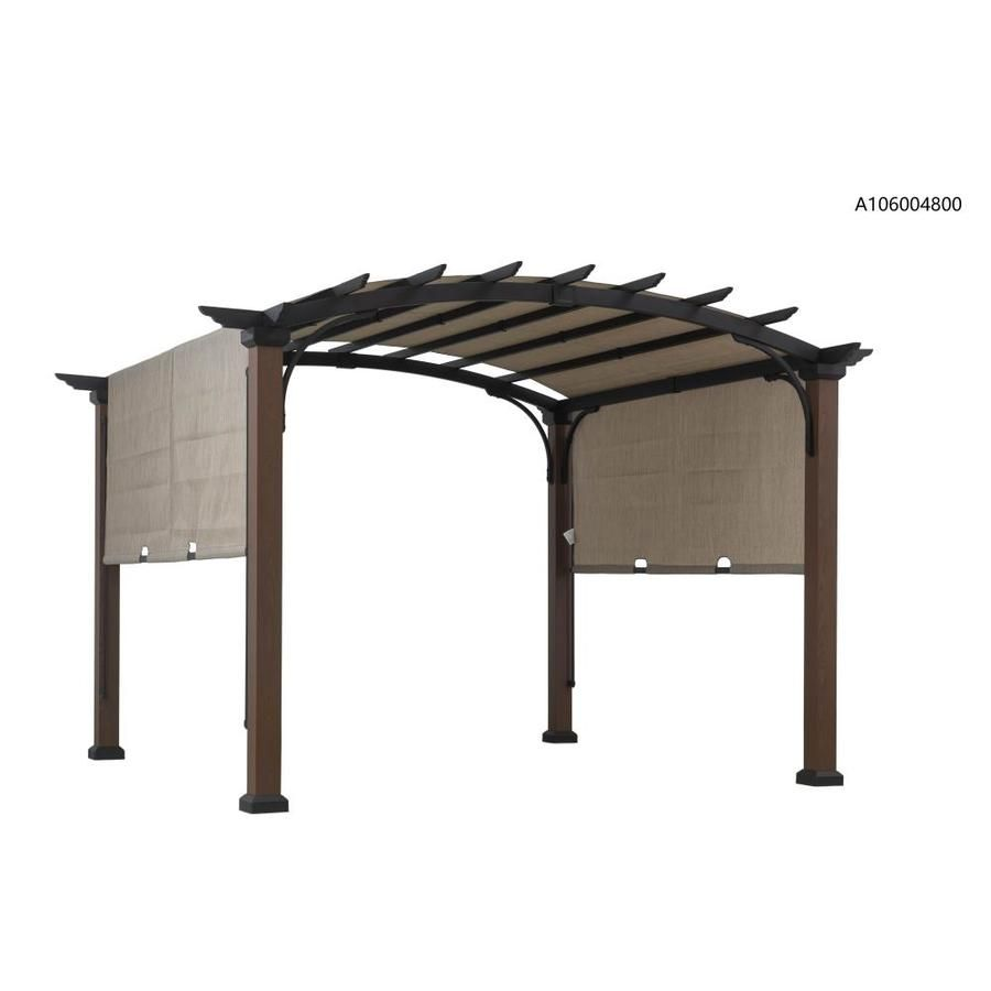 Allen Roth 10 Ft W X 10 Ft L X 8 Ft Black Tan Metal Freestanding Pergola With Canopy Lowes Com In 2020 Pergola Canopy Pergola Deck Canopy