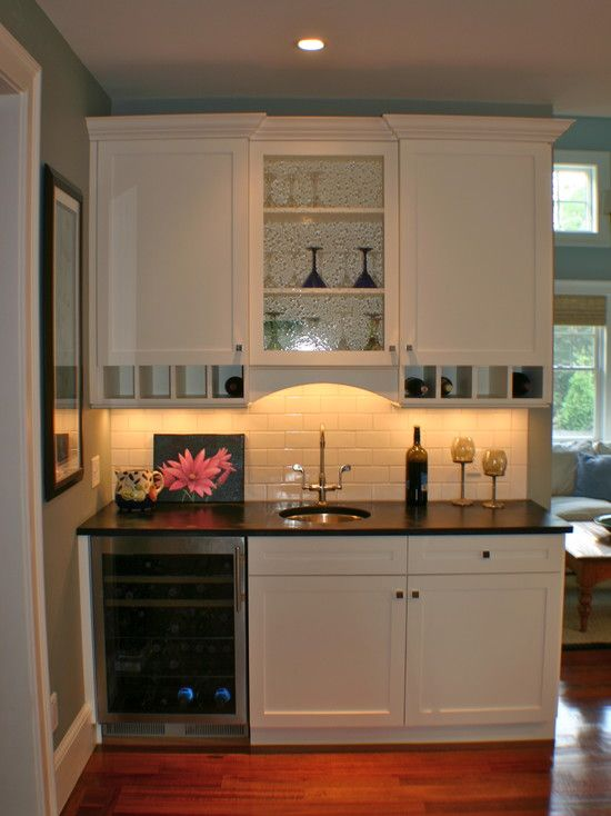 Small wet bar maybe add another mini fridge and microwave - Small wet bar ideas ...