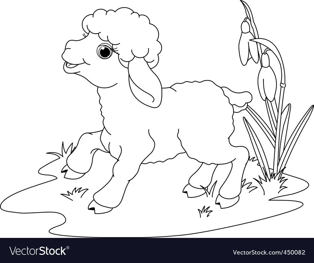 Easter Lamb On The Meadow Coloring Page Download A Free Preview Or High Quality Adobe Illustrator Easter Lamb Farm Animal Coloring Pages Animal Coloring Pages
