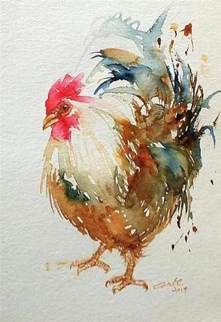 amazing rooster watercolor paintings fine art blogger