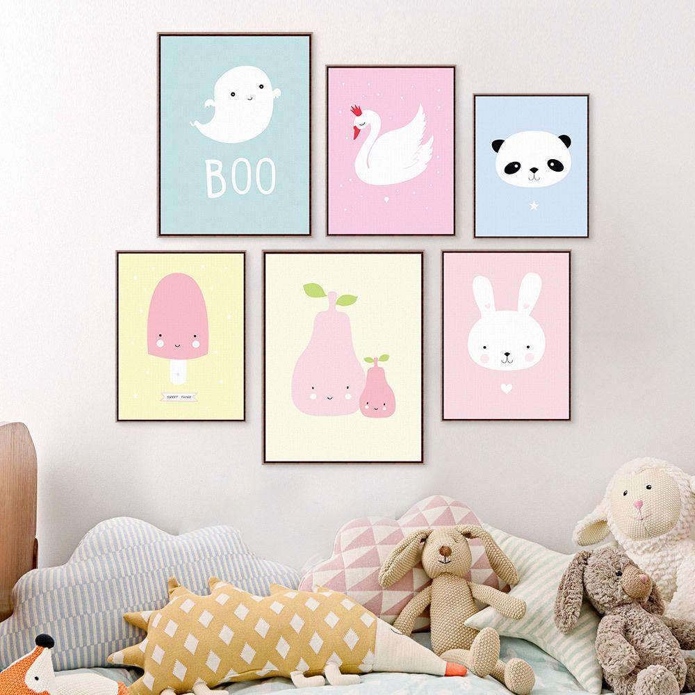 Lovely Nursery Panda Cartoon Poster Canvas Print Baby Kids Bedroom Decoration