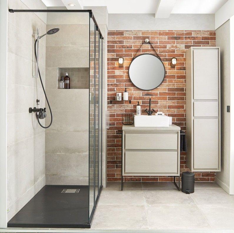 Salle de bains blanc beige naturel brun marron sensea industriel en 2019 salle de bain - Salle de bain brun ...