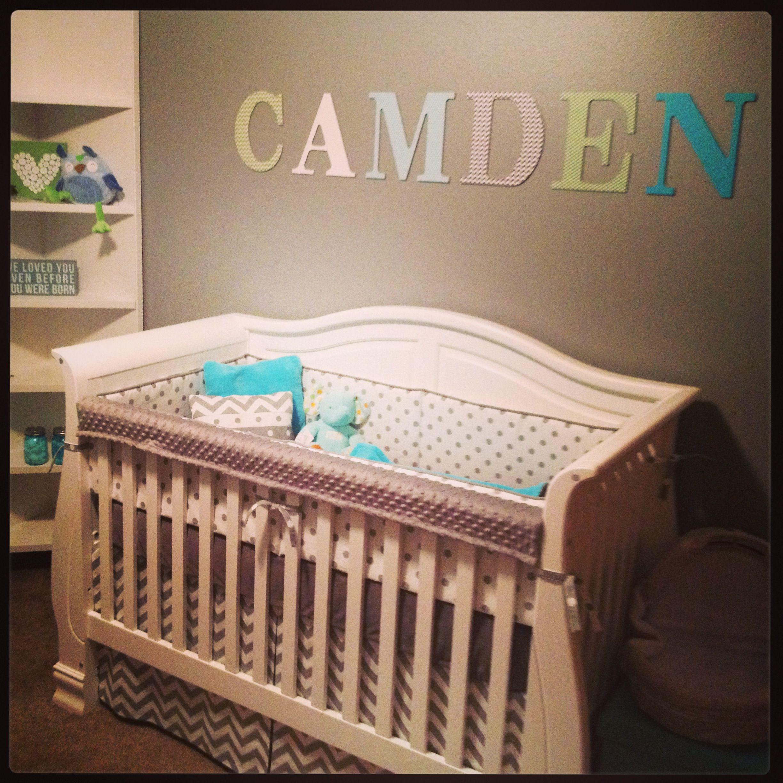 Baby boy nursery. Chevron. Aqua blue.   Baby Walsh   Pinterest ...