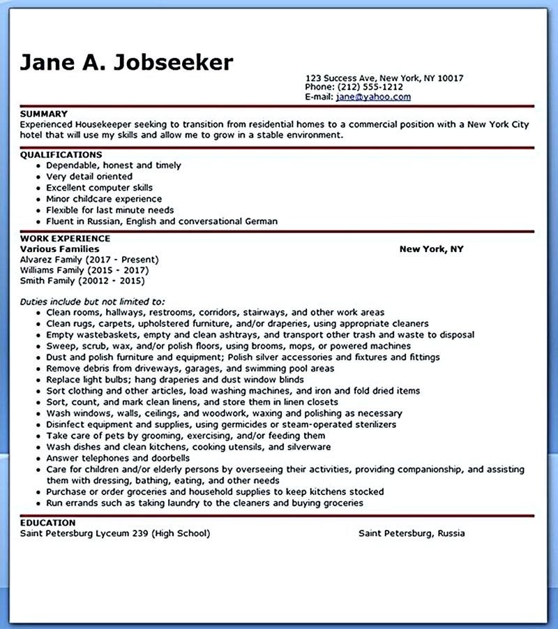 housekeeper resume Housekeeper resume should be able to contain - house keeper resume