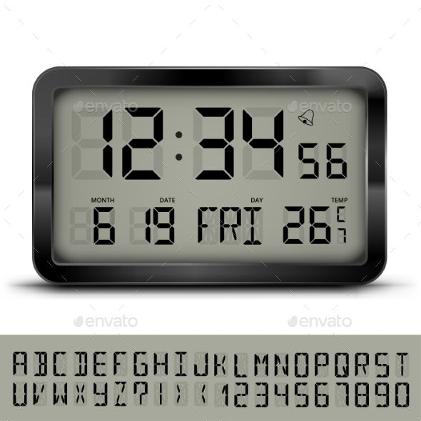 Gray Digital Clock And Weather Station With Additional Lcd Font Vector Eps10 Illustration Digital Clocks Digital Clock Design Clock