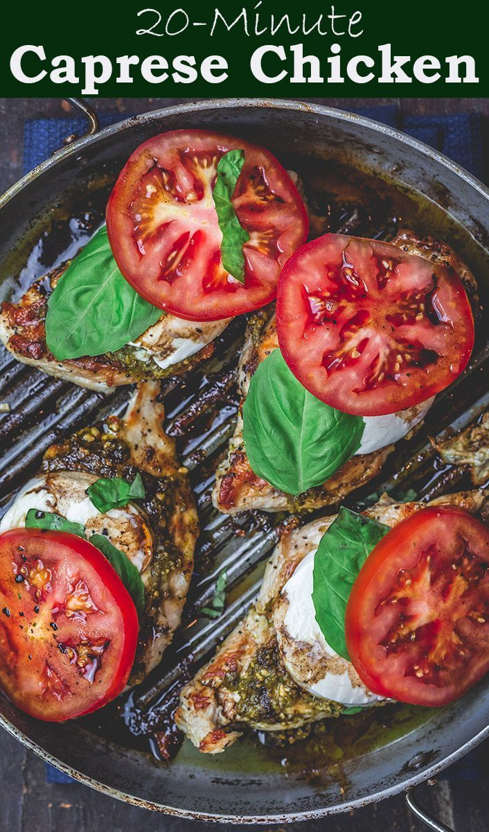 BEST Caprese Chicken Recipe with basil pesto, fresh mozzarella and ripe tomatoes. Ready in 20 minutes. Gluten free, low carb, only 288 calories!