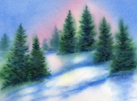 Watercolor Paintings Landscapes | snowy_ridge_watercolor_landscape_painting_landscapes__landscapes ...