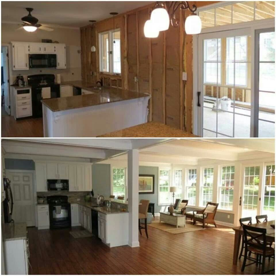 Before And After Of This Beautiful Open Concept Kitchen: Family Room Addition, Home