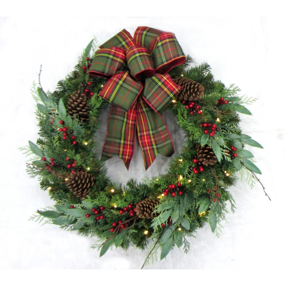 Red and Green Plaid Rag WreathPrimitive WreathPlaid WreathBurlap Plaid WreathFarmhouse Wreath