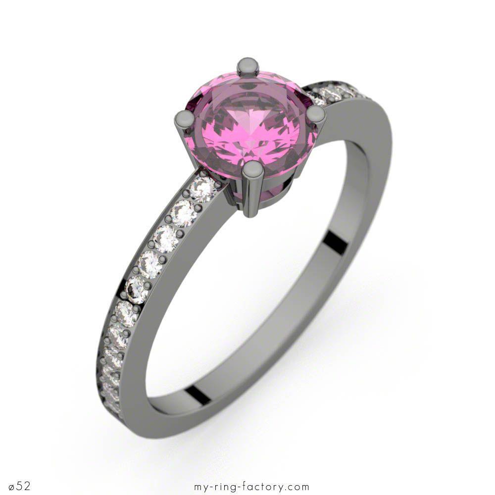 Bague saphir rose 0,98 ct or noir DAPHNE PAVAGE - My-ring-factory