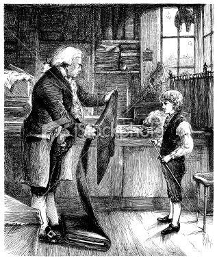 Little apprentice tailor learning the trade Royalty Free Stock Vector Art Illustration