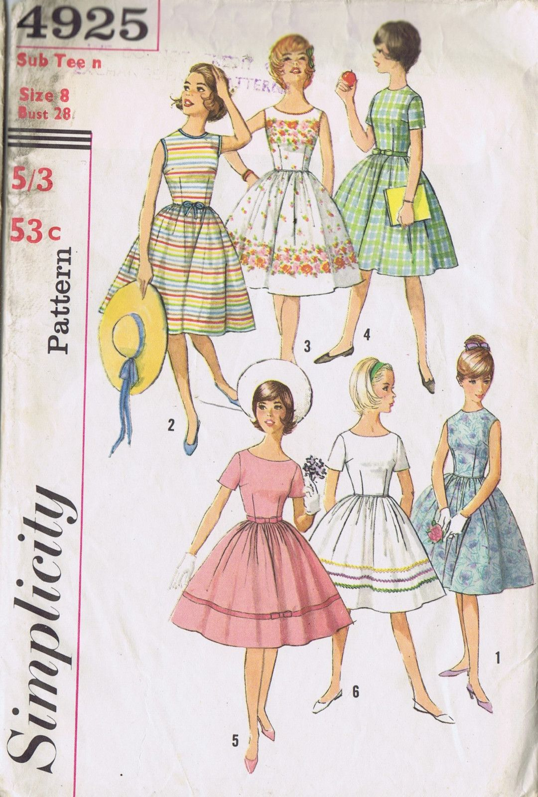 GIRLS PARTY DRESS SEWING 50s PATTERN SIMPLICITY 4925 SZ 8 BUST 28 ...