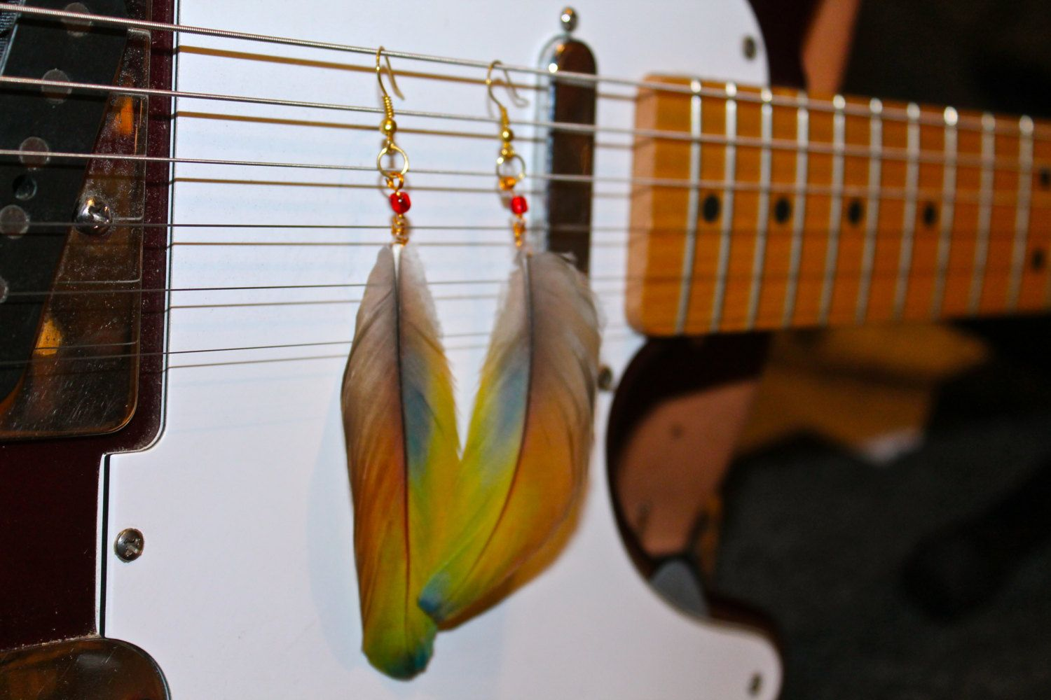 Macaw Parrot Feather Amazon Earrings by SmileInspired on Etsy, $15.00