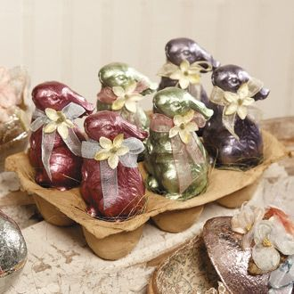 Bethany Lowe Faux Foil Bunnies  shelley b home and holiday