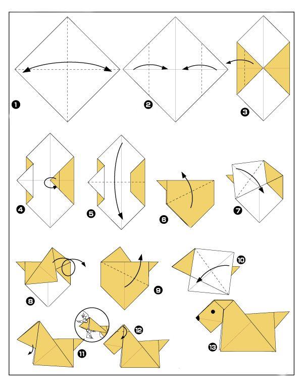 Оригами из бумаги схемы собаки