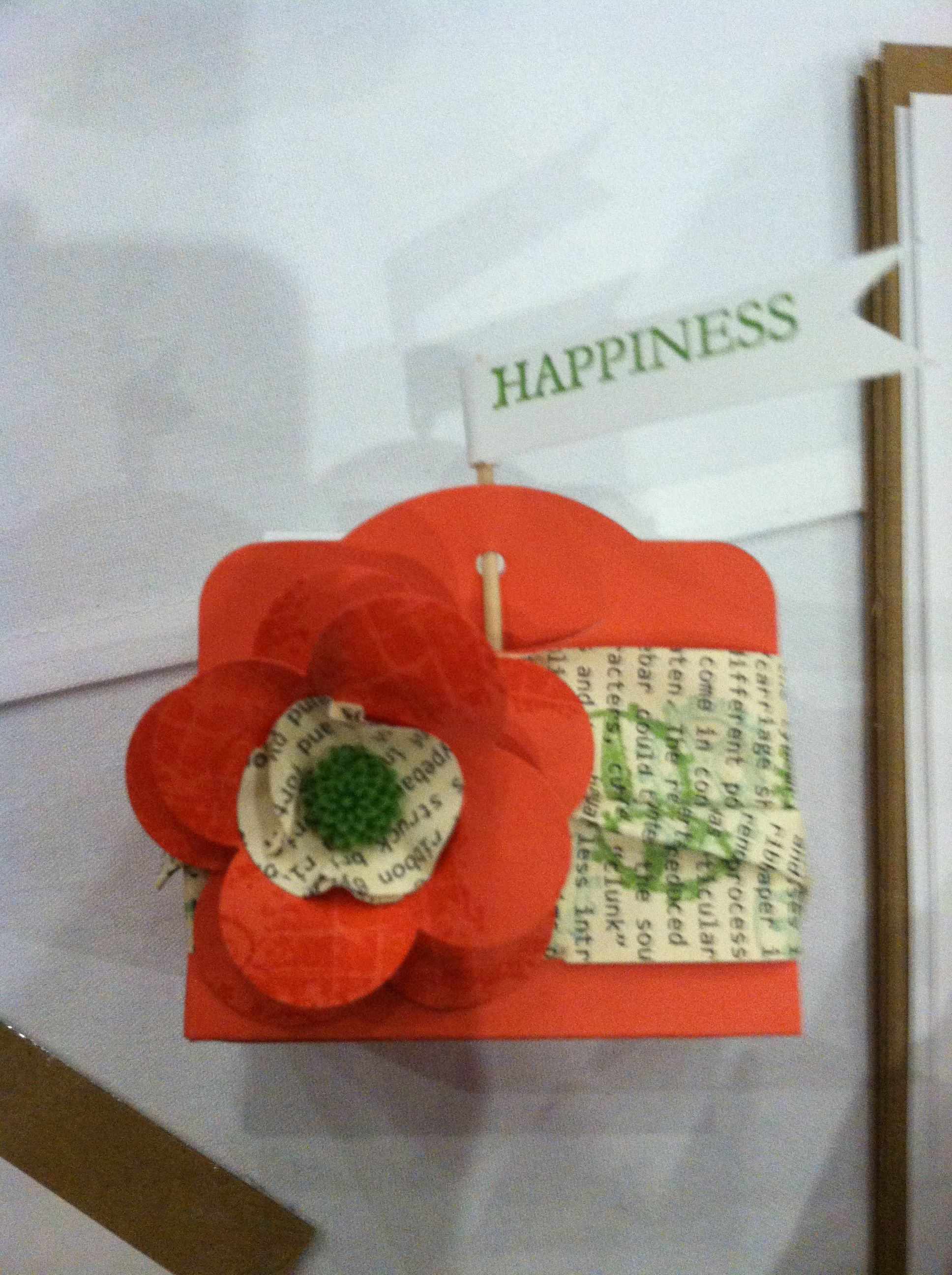 Stampin' Up! Box made with two tags die, fancy flower punch, clockwork stamp set. So cute!