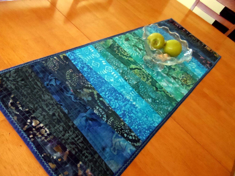 Strip Pieced Table Runner, Contemporary Batik Table Quilt, Modern Table  Runner, Quilted Table Topper, Blue, Aqua, Teal, Quiltsy Handmade