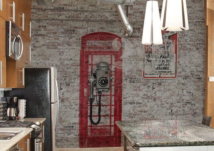 Vintage Tapete Für Die Küche Mit Englischer Telefonzelle