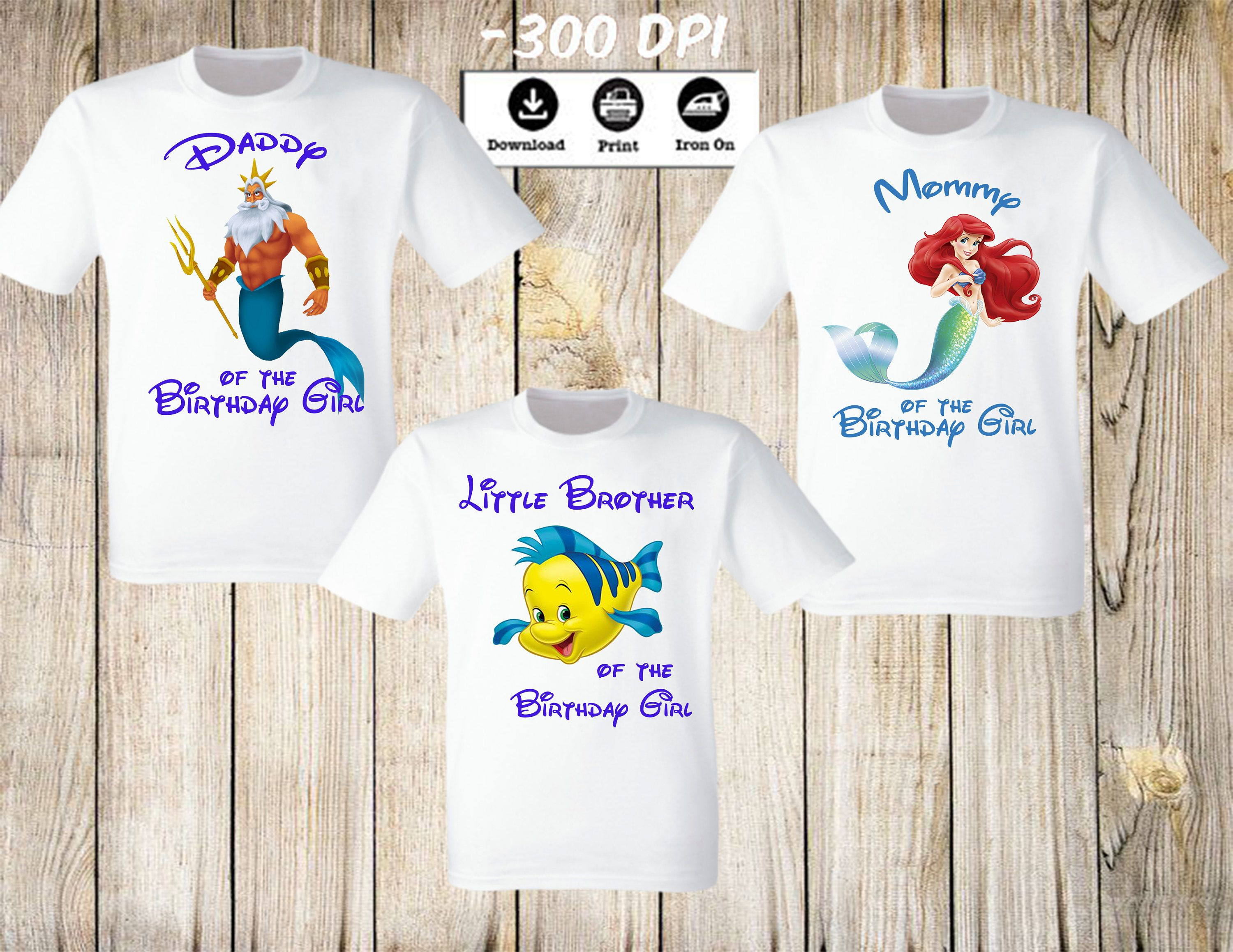 Little Mermaid Ariel Family Birthday Party Set Personalized Iron On Of 3 Shirts Mommy Daddy Brother Girl By