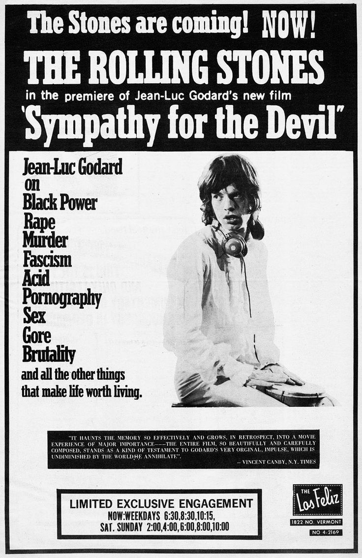 Jean-Luc Godard's 'Sympathy for the Devil' ~ A 1968 film poster, starring The Rolling Stones