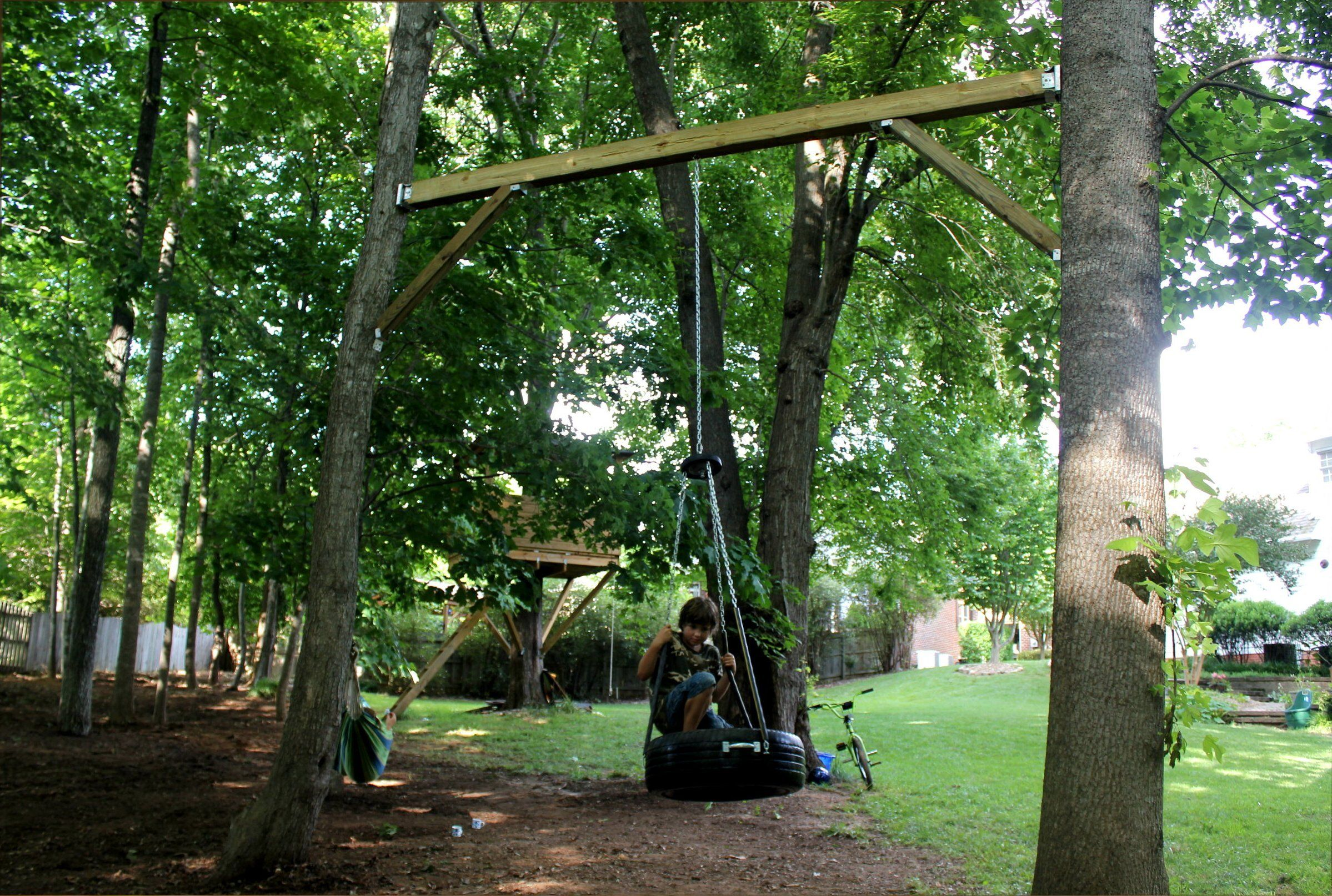 Tire Swing Between Two Trees Great Idea If You Don T