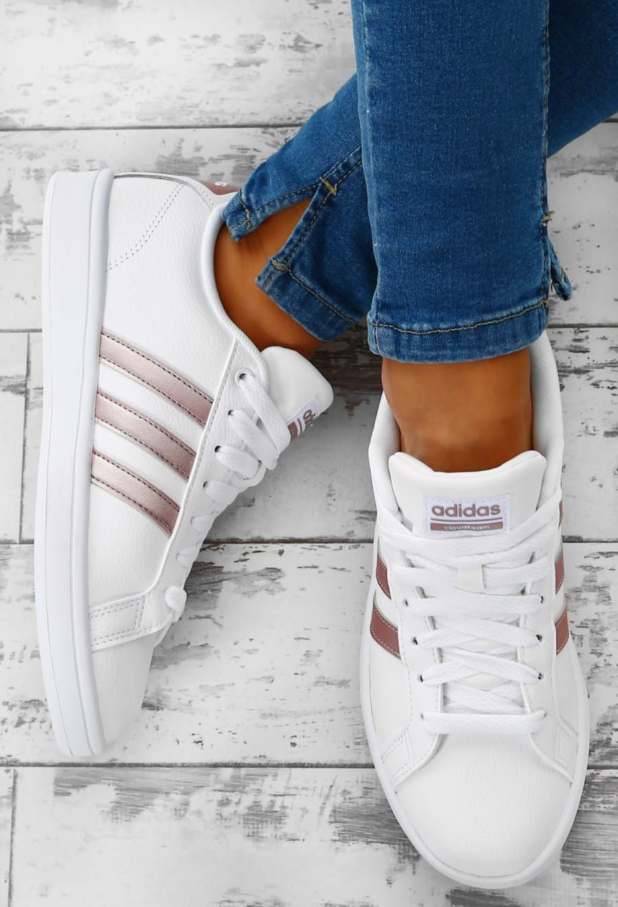Adidas Cloudfoam Advantage White and Rose Gold Stripe Trainers | Pink  Boutique