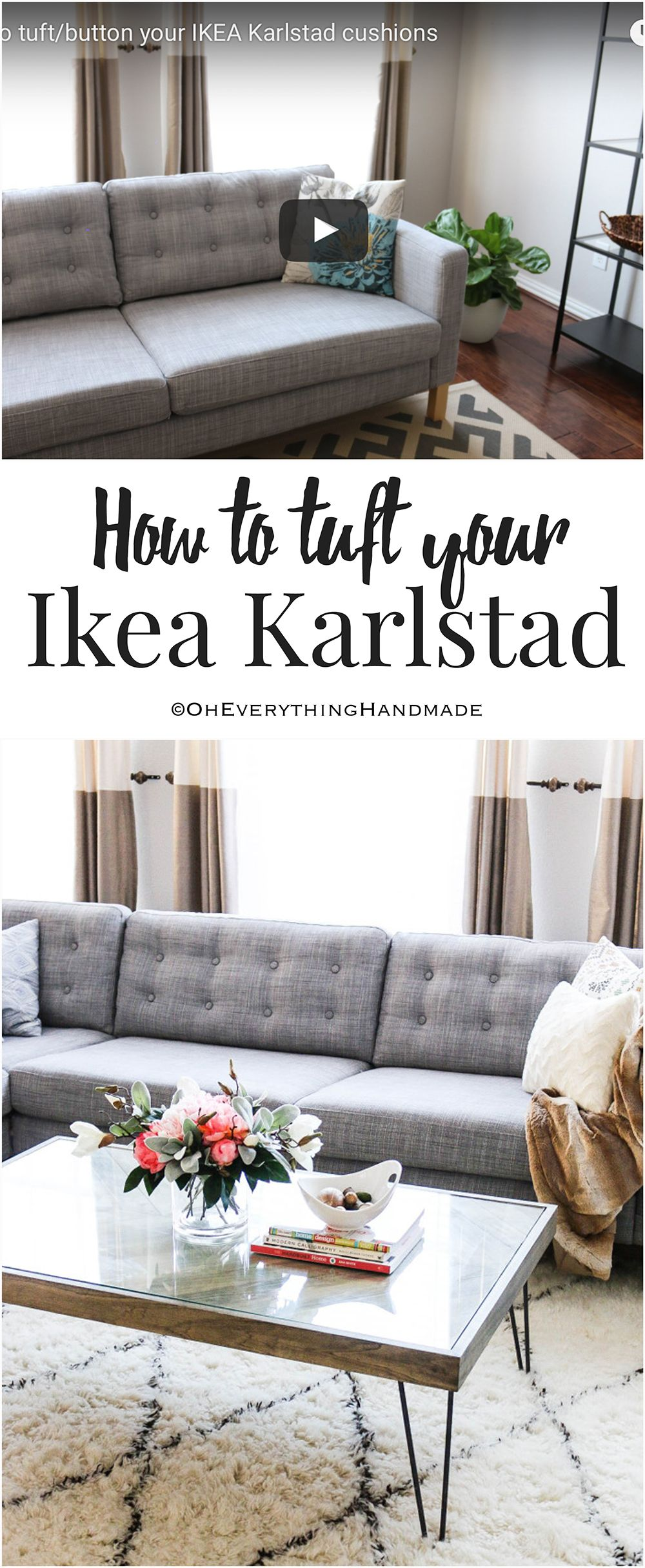 diy how to tuft button your ikea karlstad cushions diy wohnen diy m bel und einrichtung. Black Bedroom Furniture Sets. Home Design Ideas