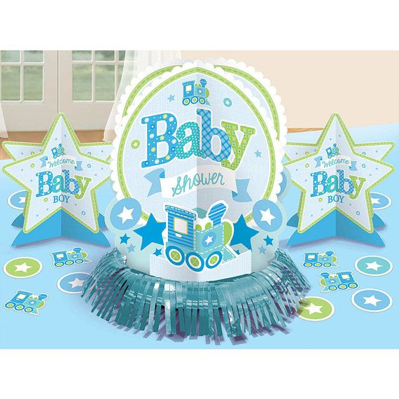 23 Pc Welcome Baby Boy Baby Shower Table Decorating Kit Baby Boy Shower Party Welcome Baby Boys Baby Shower Party Supplies