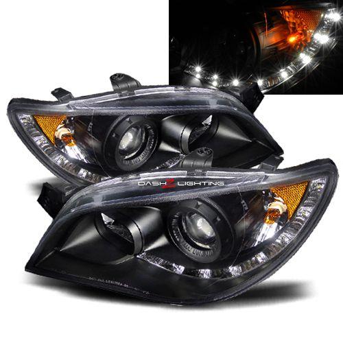 06-07 Subaru Impreza/WRX LED Strip Projector Headlights JDM Black