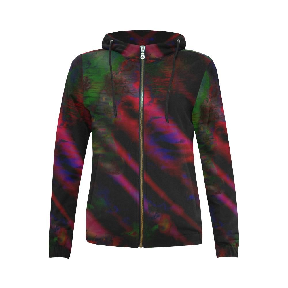 Watercolor Satin - Jera Nour All Over Print Full Zip Hoodie for Women (Model H14)