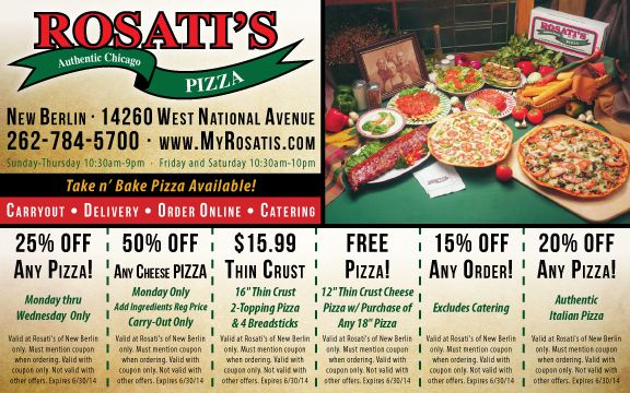 Rosati's Pizza New Berlin, WI | Southeastern Wisconsin Deals and