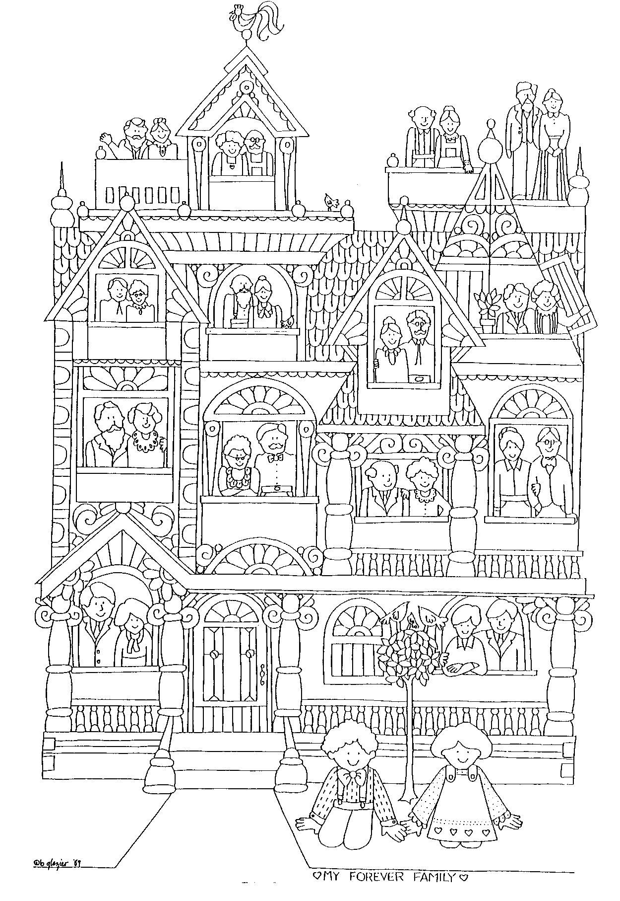 Family Tree Printable And Coloring Page I Would Cut Out People In Windows Leave Open For Kiddos To Draw Their Members Pets