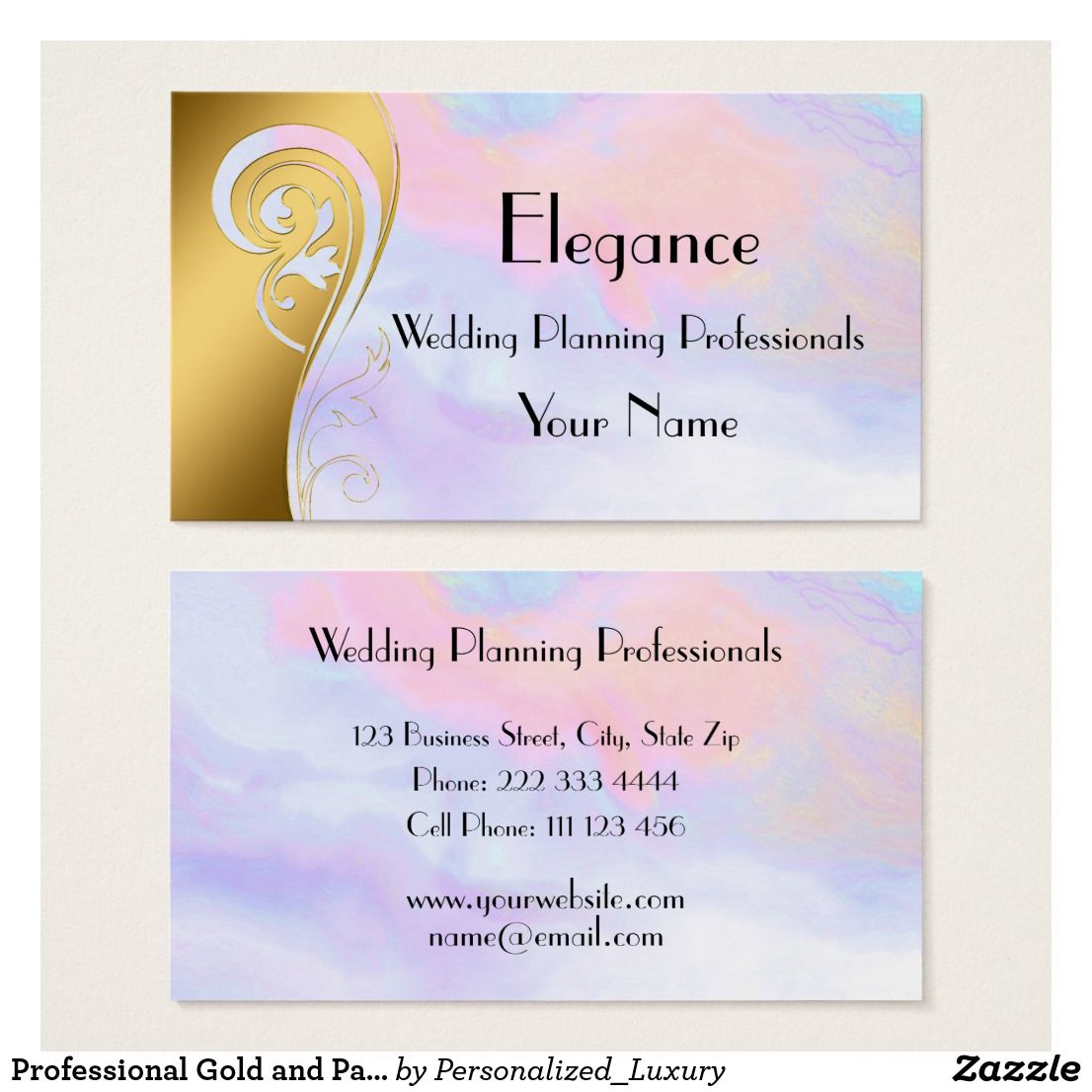 professional gold and pastel wedding planner business card