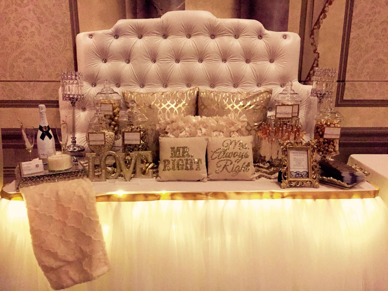 Buffet table skirting - White Gold And Champagne Candy Bar For A Wedding Reception Table Design And Tulle