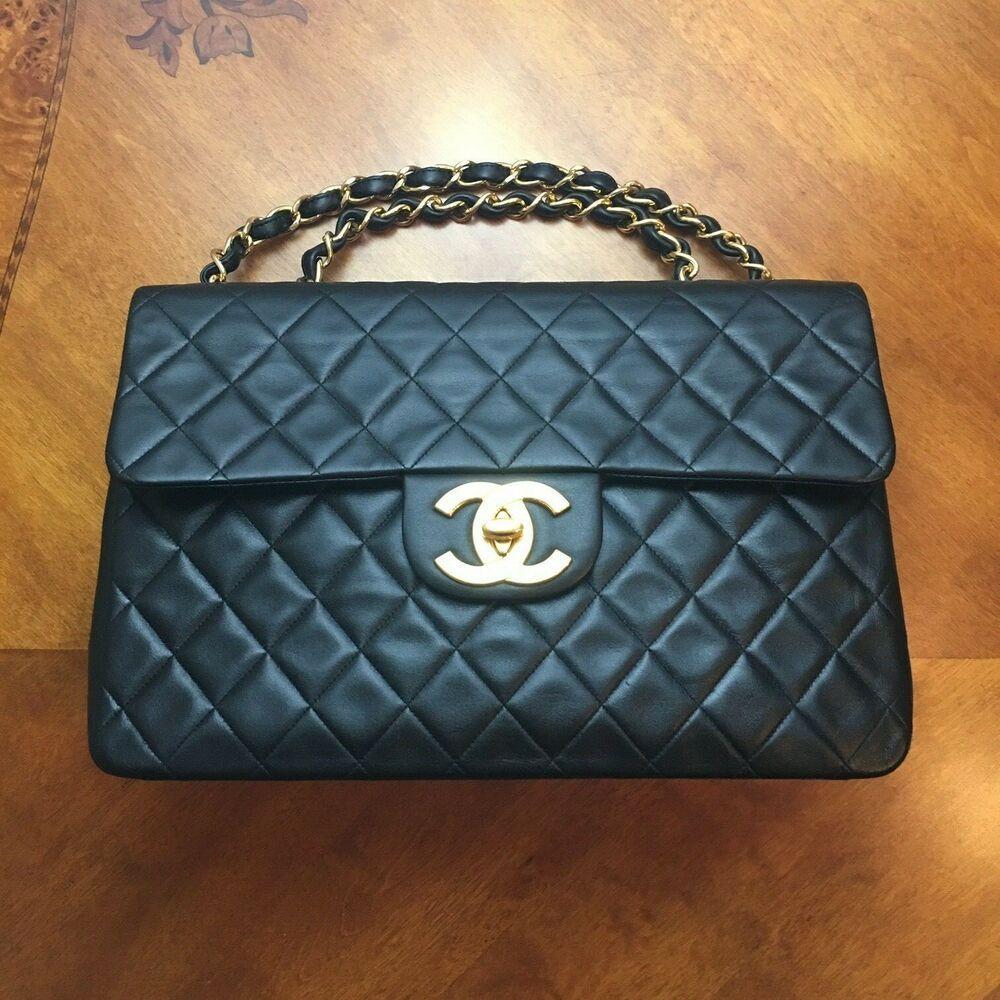 bf40bb95d5c6 Chanel Maxi Jumbo XL Vintage Black Lambskin Shoulder Bag | Fashion ...