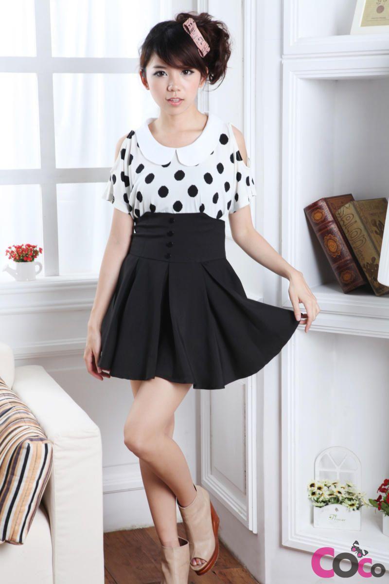 Black High Weist Globed Cute Korean Fashion Summer Skirt | k ...
