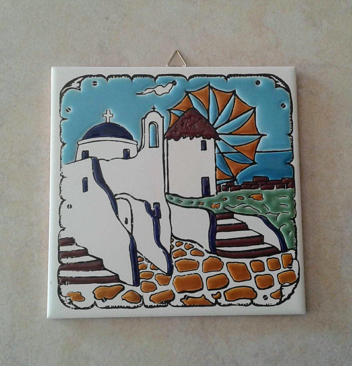 Ceramic Art Tile Greek Handmade Hand Painted In Relief Wall Etsy Tile Art Ceramic Tile Art Ceramic Art