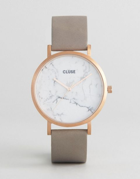 CLUSE La Roche Rose Gold White Marble   Gray Leather Watch CL40005 ... 1a5d3ad6678e