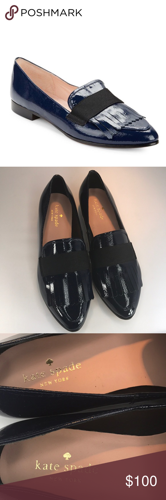 8b28a3ed6eb4 Kate Spade Cayla Point-Toe Patent Leather Loafer Brand New Never Worn Lapis  Blue Kate Spade loafers. Retails  258. No box! kate spade Shoes Flats    Loafers
