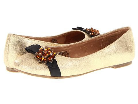 Fossil Marrissa Embellished Gold Glitter Genuine Leather Rounded Toe Ballet Flat