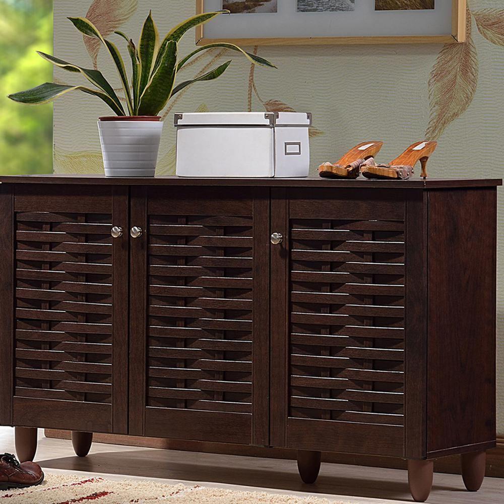 baxton studio 12 pair winda dark brown wood wide shoe on shoe rack wooden with door id=58451