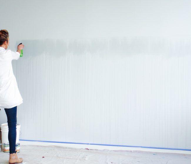 Wandgestaltung-selber-machen-Wasserfarbe-ideen-Schlafzimmer-Akzent - wandgestaltung mit farbe streifen schlafzimmer