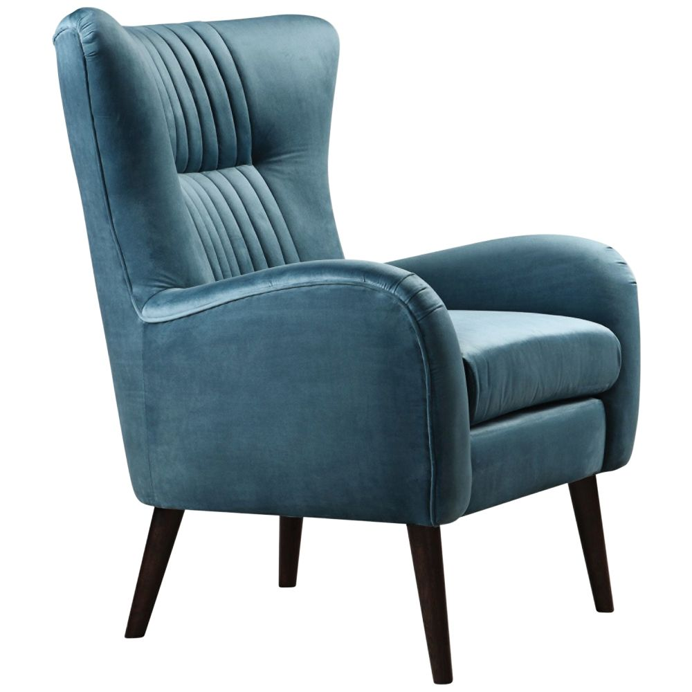 Best Uttermost Dax Teal Blue Velvet Tufted Accent Chair 640 x 480