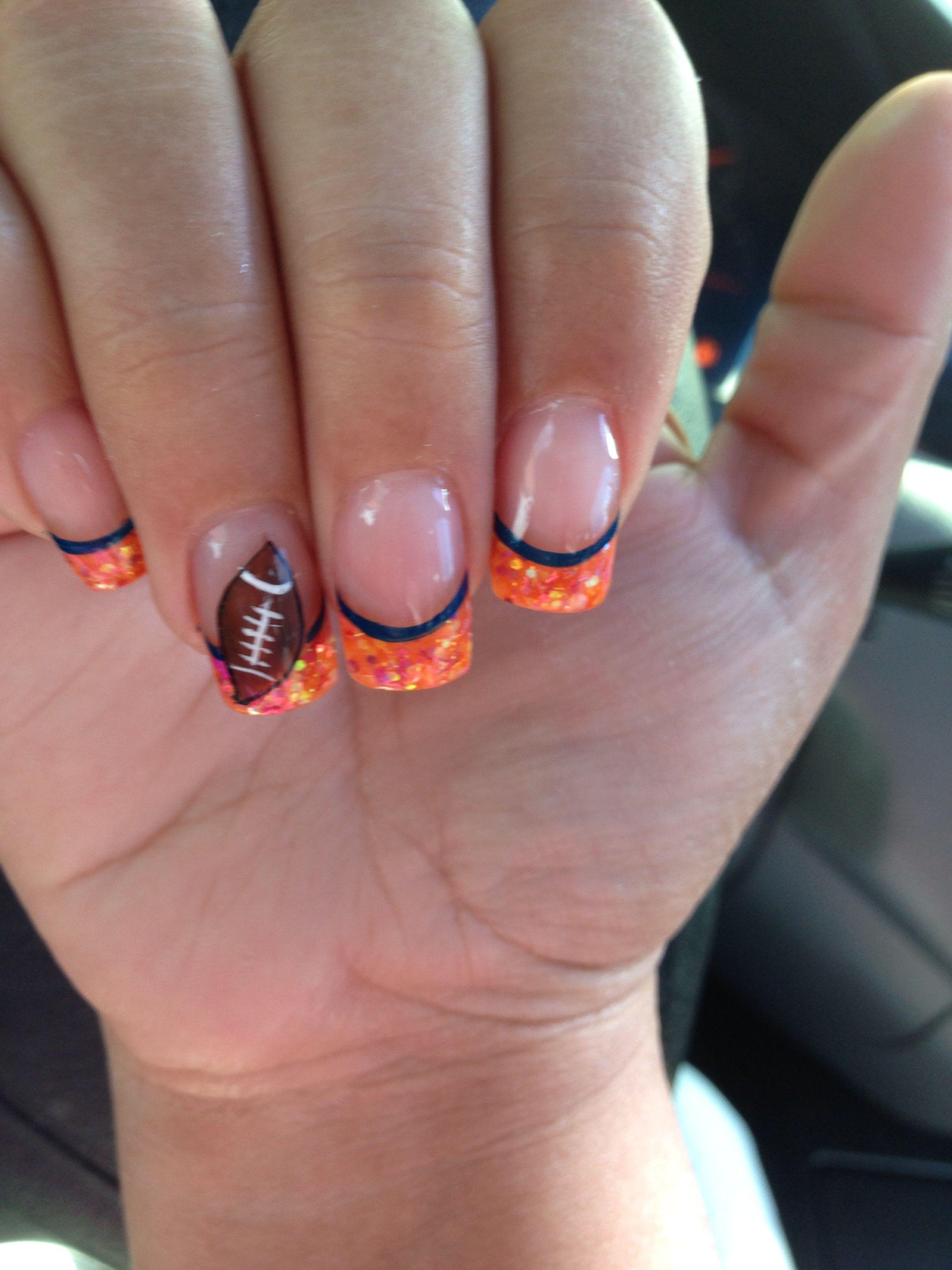 SuperBowl Nails! #Broncos #Orange | Nail designs | Pinterest ...