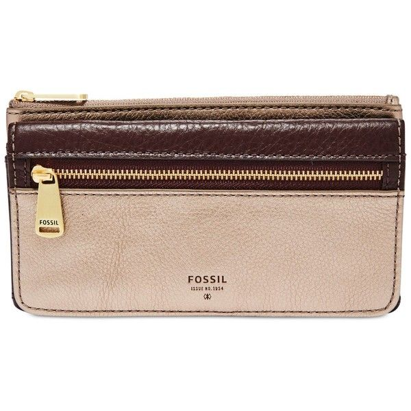 Fossil Preston Leather Flap Clutch Wallet ($49) ❤ liked on Polyvore featuring bags, wallets, taupe metallic, leather wallets, metallic wallet, clutch wallet, fossil wallets and coin wallet