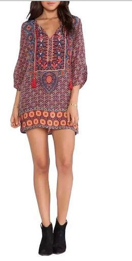 Bohemian dress featured neck tie and vintage floral printed ,fashionable ethnic style #dress #style#summerdress